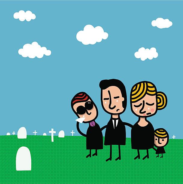 stockillustraties, clipart, cartoons en iconen met familia llorando en cementerio - funeral crying