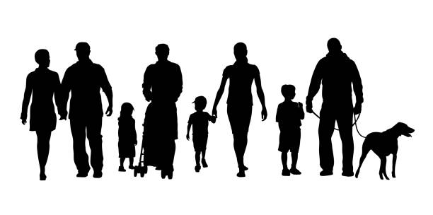 Families And Children Crowd Families and Friends walking together community clipart stock illustrations