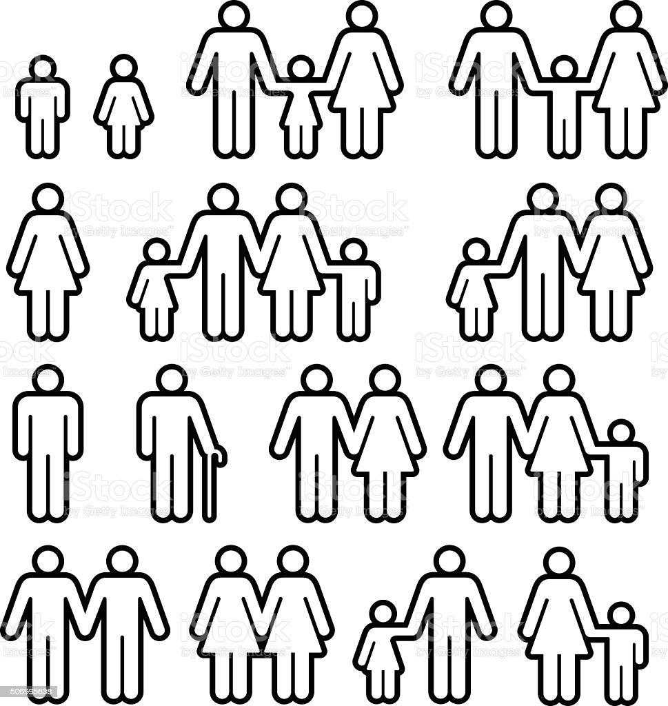 Les familles et les personnes des symboles - Illustration vectorielle