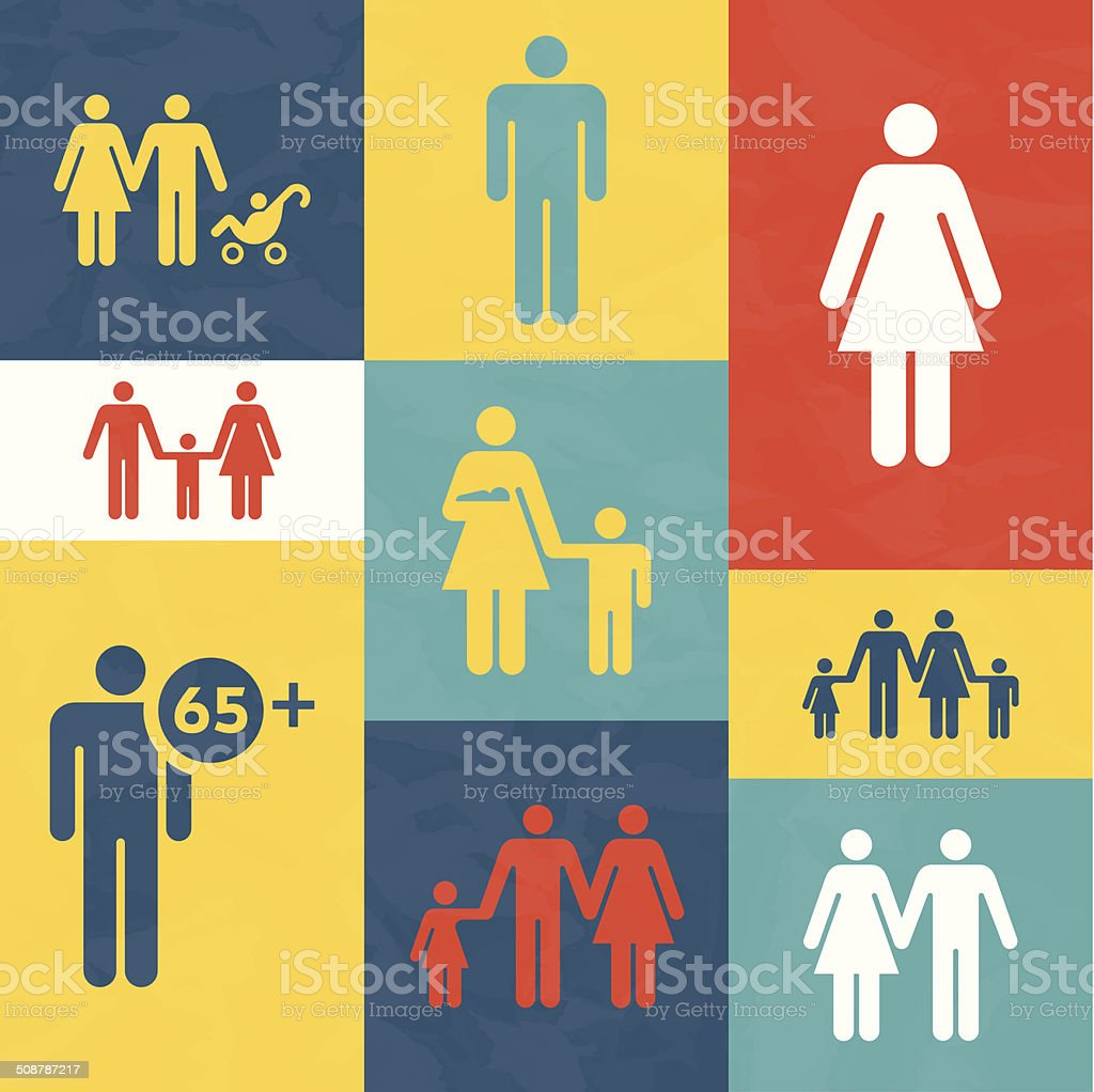 Families and People vector art illustration