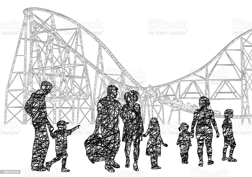 Families At The Amusement Park vector art illustration