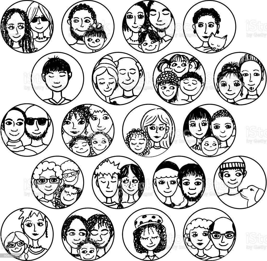 Les familles, les couples, les amis, frères et sœurs, les célibataires - Illustration vectorielle