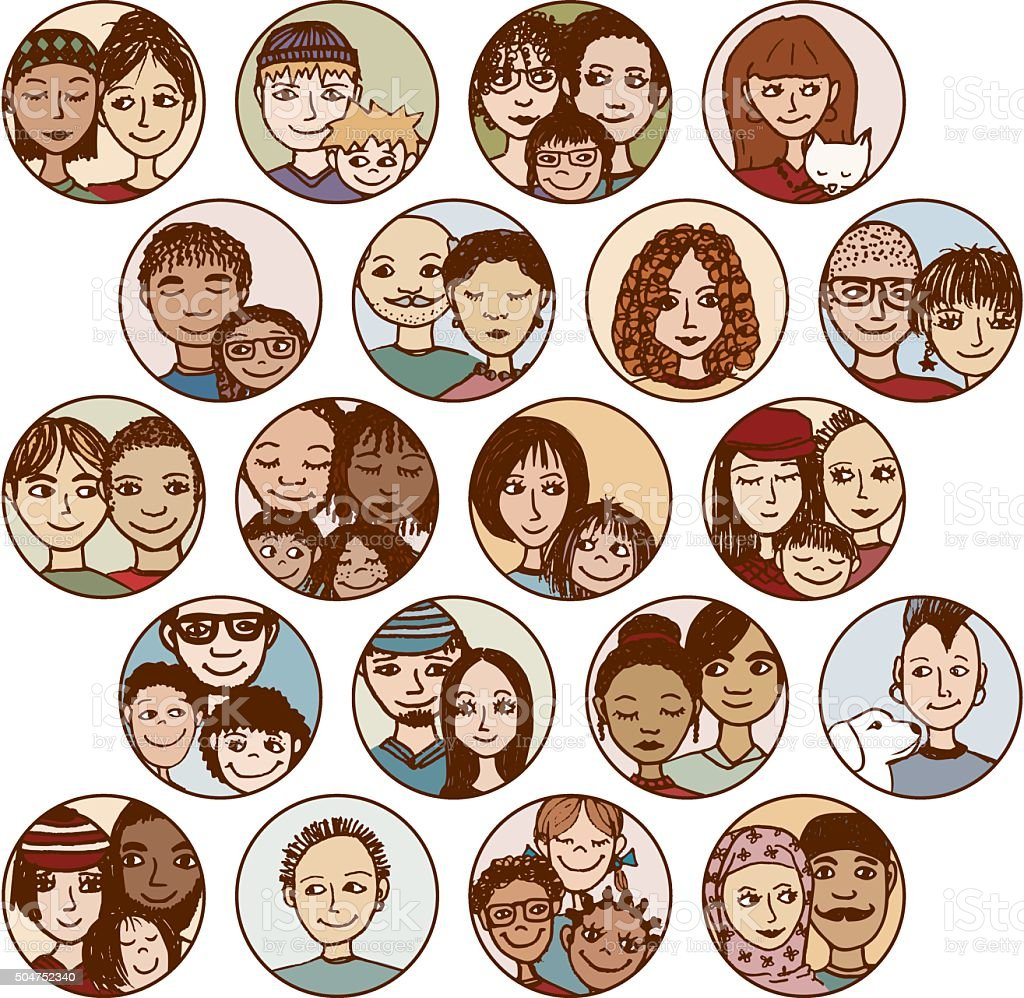 families, couples, friends, siblings, singles vector art illustration