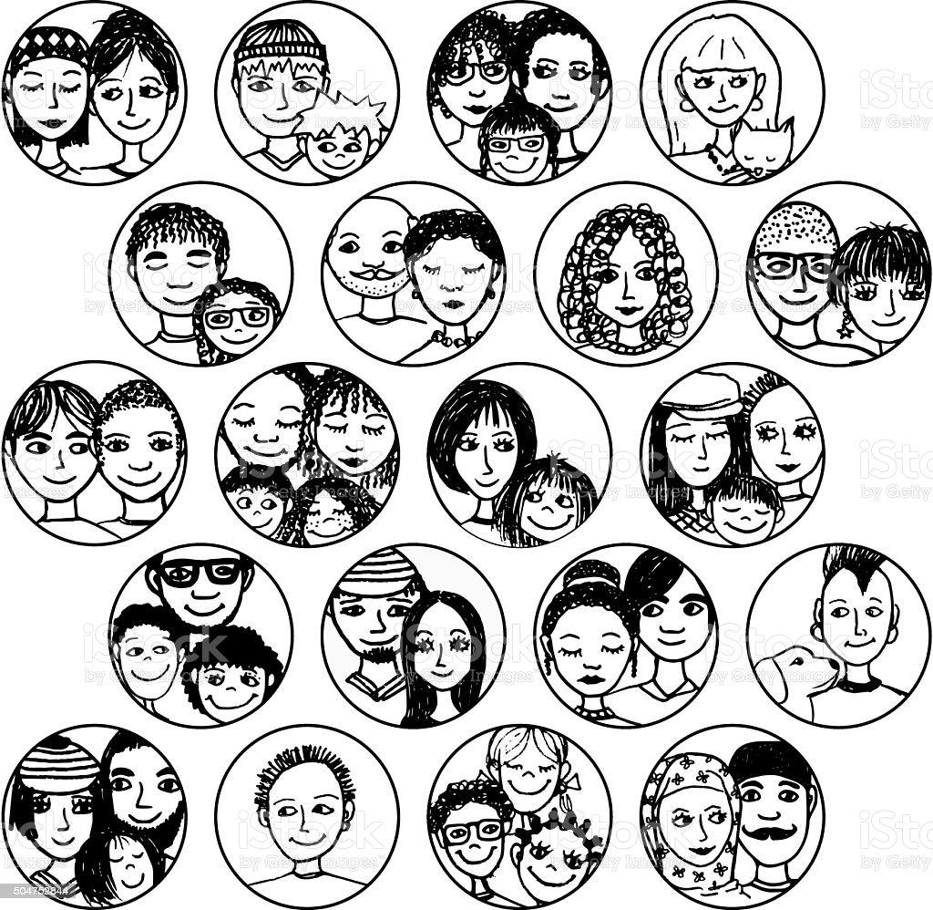 Les familles, les couples, les amis, frères et sœurs, les célibataires. - Illustration vectorielle
