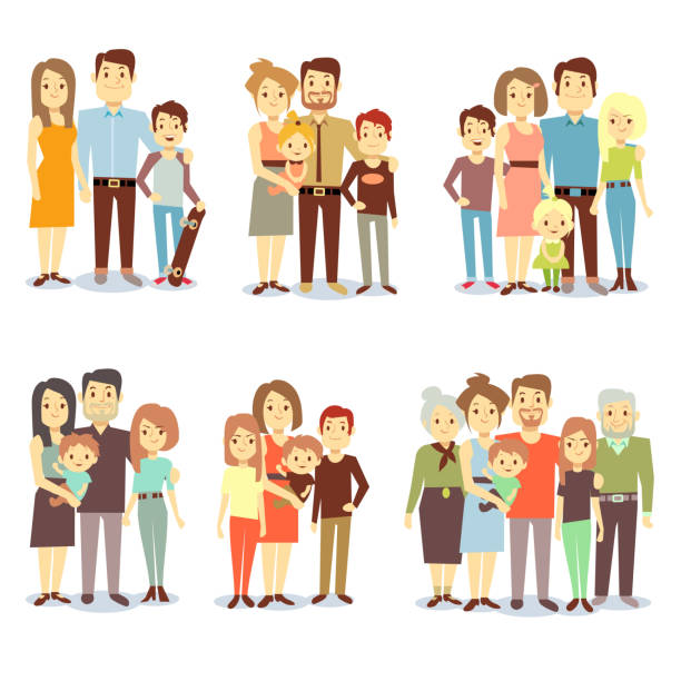 families different types flat vector icons set - family stock illustrations, clip art, cartoons, & icons