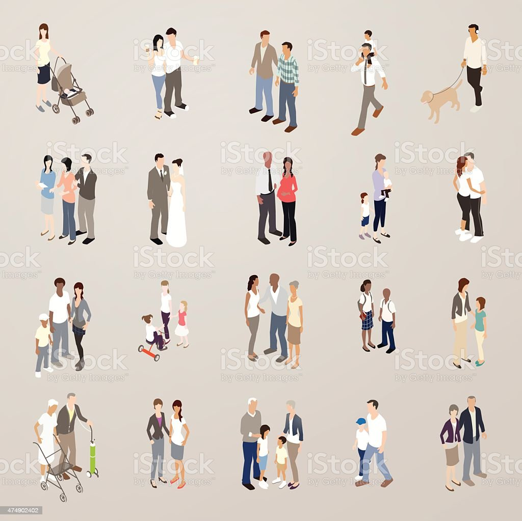 Families - Flat Icons Illustration