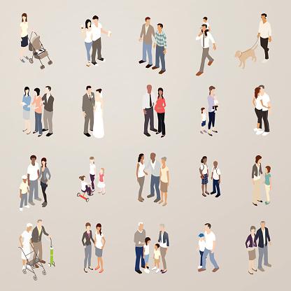 Families - Flat Icons Illustration