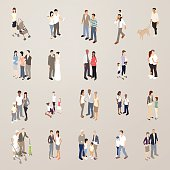 This detailed set of 20 icons is illustrated in a flat vector style. Various families, couples and groups of people can be seen together. Included are: a woman with a baby in a stroller; a young heterosexual couple; two gay men; a father with a small child sitting on his shoulders; a man with his dog; a family with a new baby; a man and woman getting married; a man and his pregnant partner; a mother with a baby son and a toddler daughter; a man and woman in casual clothing kissing; a multiracial couple and their son; three small girls playing together; a senior mother and father with their grown daughter; two small children in school uniforms; a mother and daughter; an elderly couple; a lesbian couple; two grandparents with their small grandchildren; a father walking with his young son, and a senior man and woman.