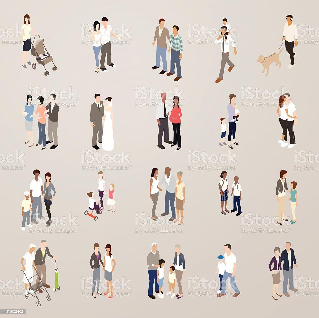 Families - Flat Icons Illustration vector art illustration