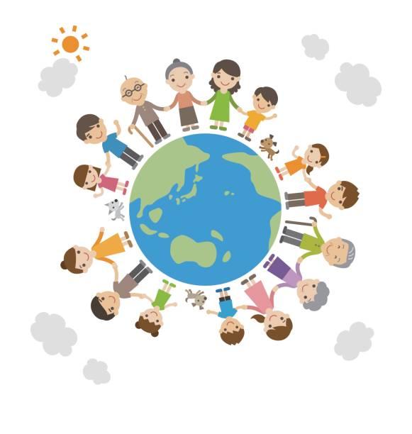 家族一緒に地球の上に立って手をつないで - 地球 日本点のイラスト素材/クリップアート素材/マンガ素材/アイコン素材