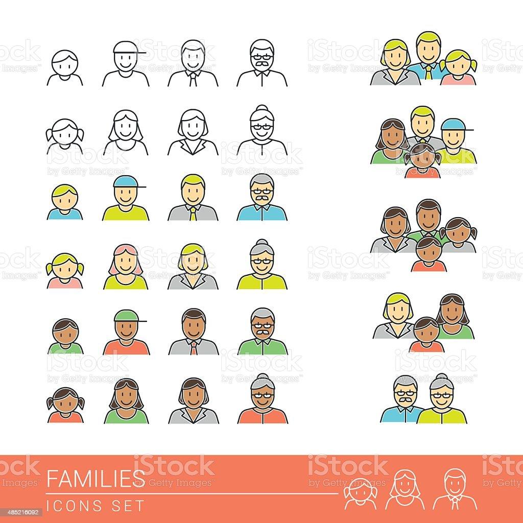 Familles icônes set - Illustration vectorielle