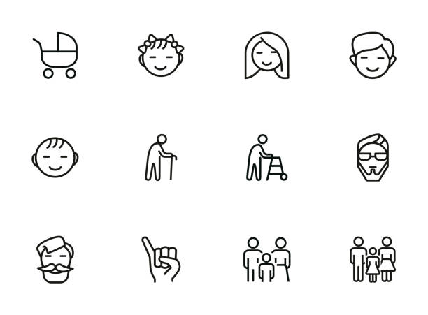 families line icon set - old man smiling silhouettes stock illustrations, clip art, cartoons, & icons