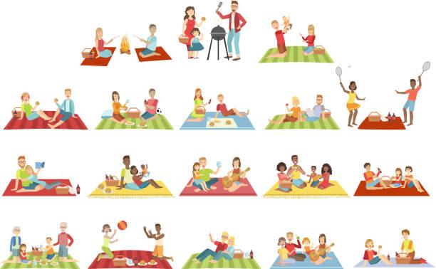 ilustraciones, imágenes clip art, dibujos animados e iconos de stock de familias de picnic al aire libre - picnic