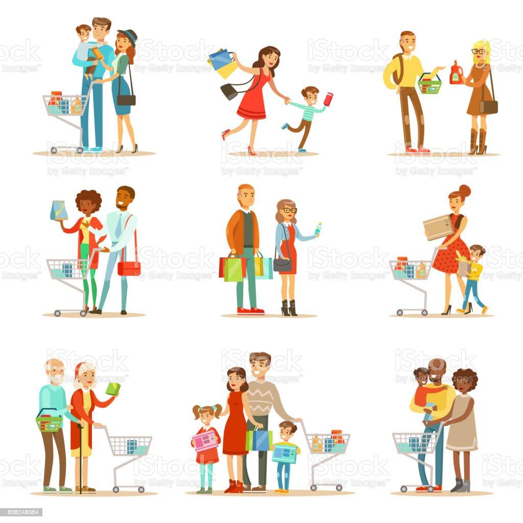 Families Shopping In Department Store And Shopping – Vektorgrafik
