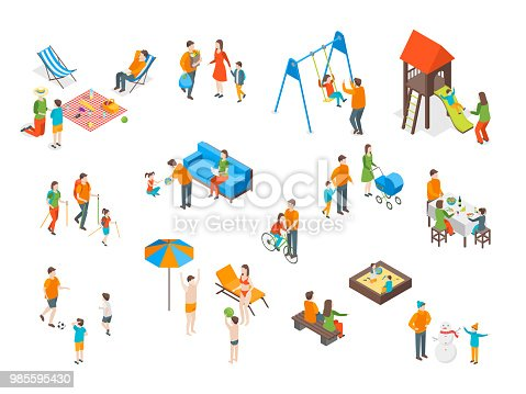 Families Spending Free Time 3d Icons Set Isometric View Include of Recreation Together, Walk and Game. Vector illustration of Icon People Leisure