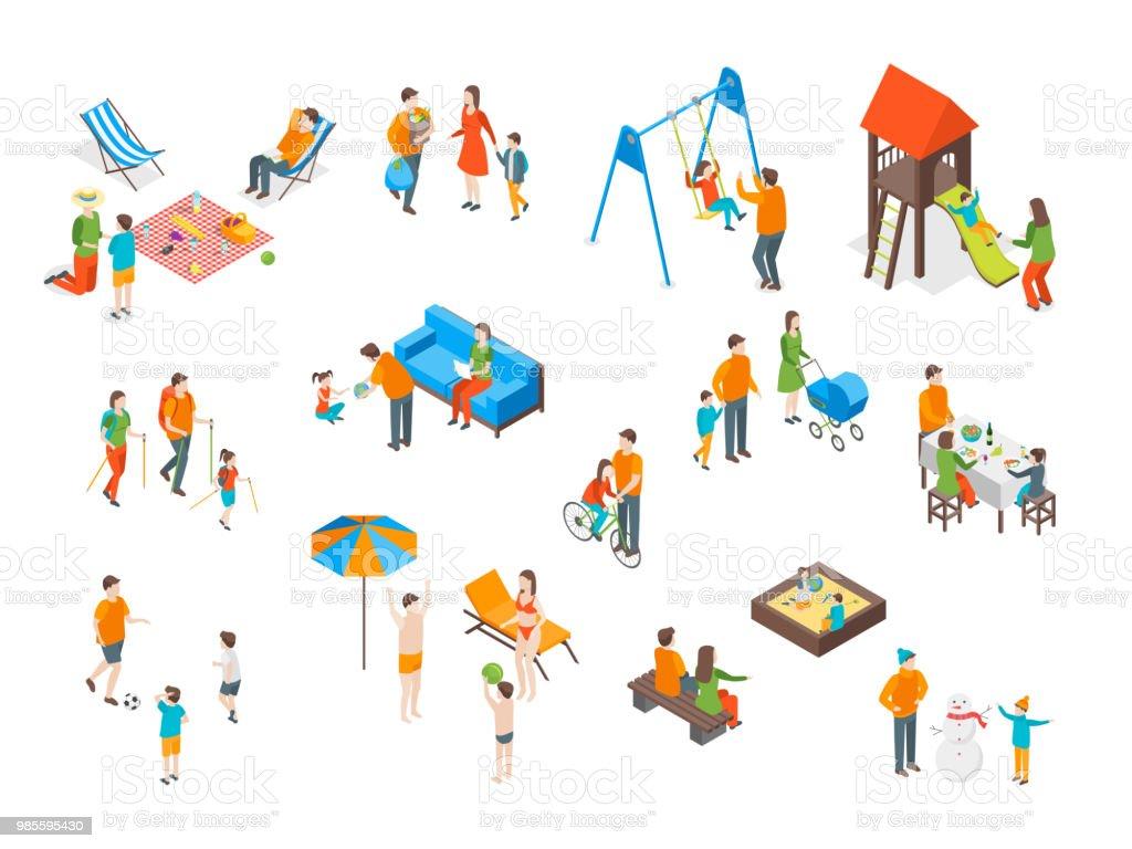 Familles des dépenses gratuite temps Icons Set vue 3d isométrique. Vector - Illustration vectorielle