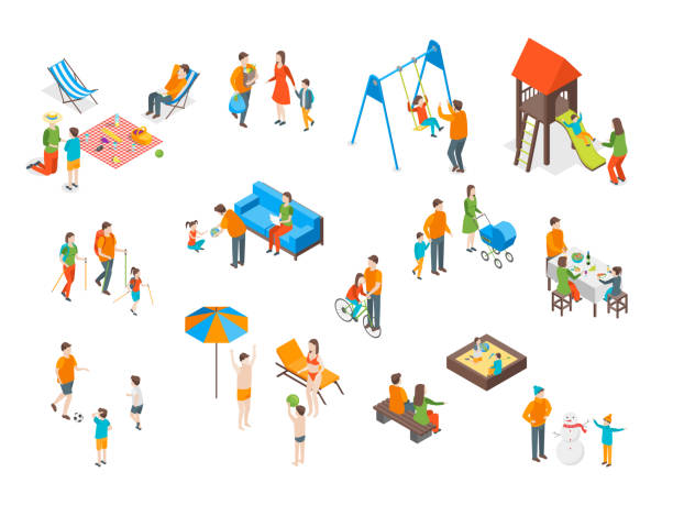 families spending free time 3d icons set isometric view. vector - family trips stock illustrations