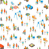 Families Spending Free Time 3d Seamless Pattern Background on a White Isometric View Include of Recreation Together, Walk and Game. Vector illustration of Icon People Leisure