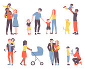 Collection of families walking together. Set of diverse mothers, fathers and children spending time together. Bundle of parents and kids isolated on white background. Flat cartoon vector illustration
