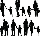 Families are walking hand in hand