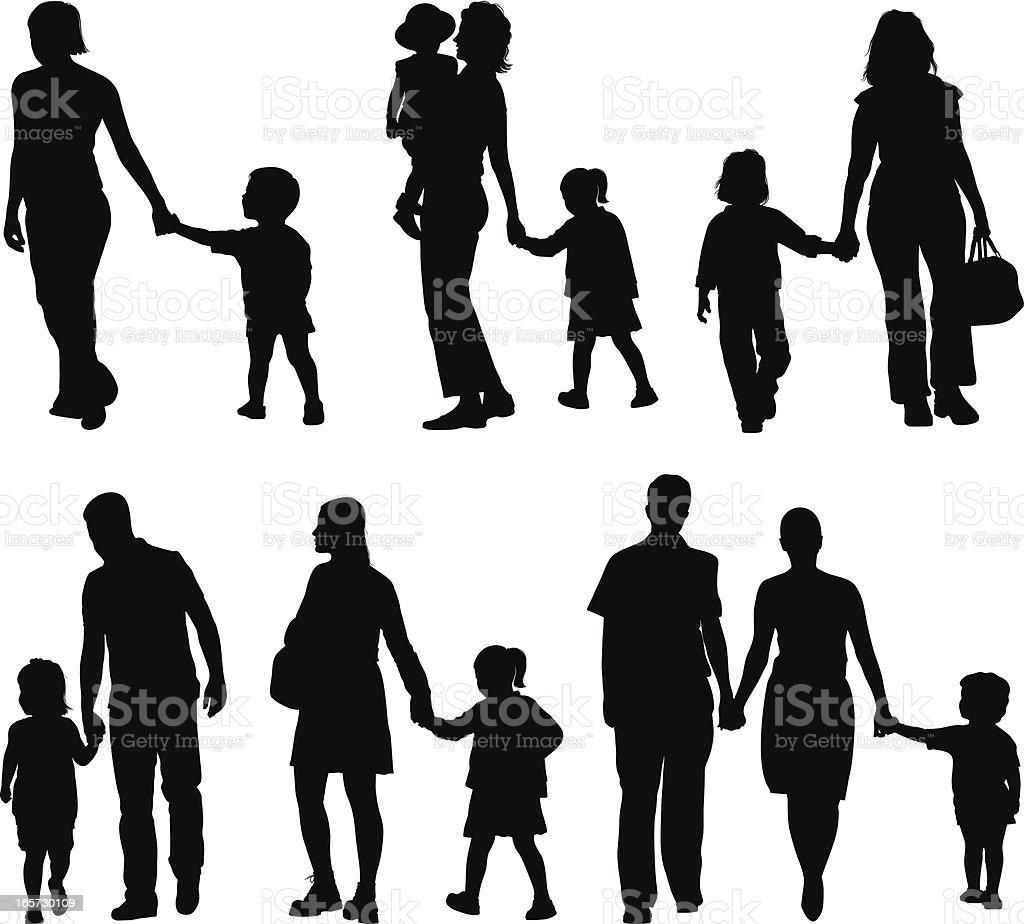 Families vector art illustration