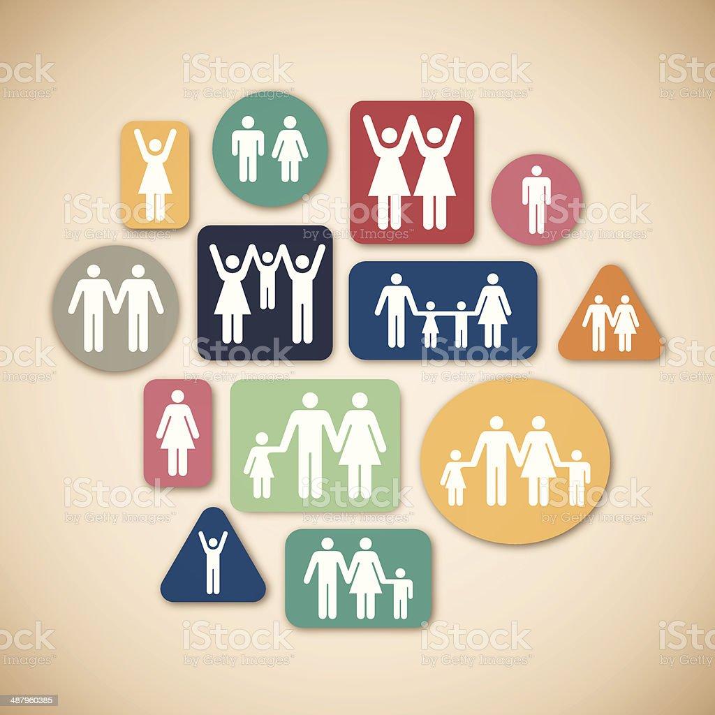 Les familles - Illustration vectorielle