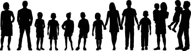 가족 - 자녀 실루엣 stock illustrations