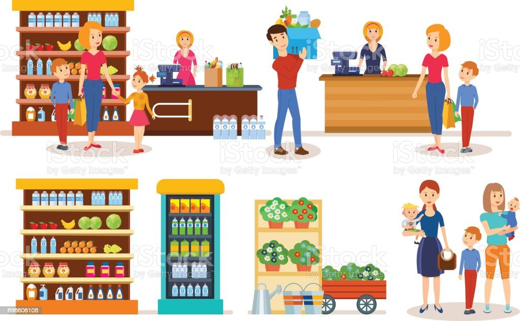 Families walking through mall, make purchases and plans further acquisitions vector art illustration
