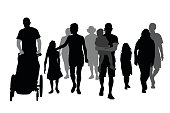Silhouette vector illustration of various people and their families walking together