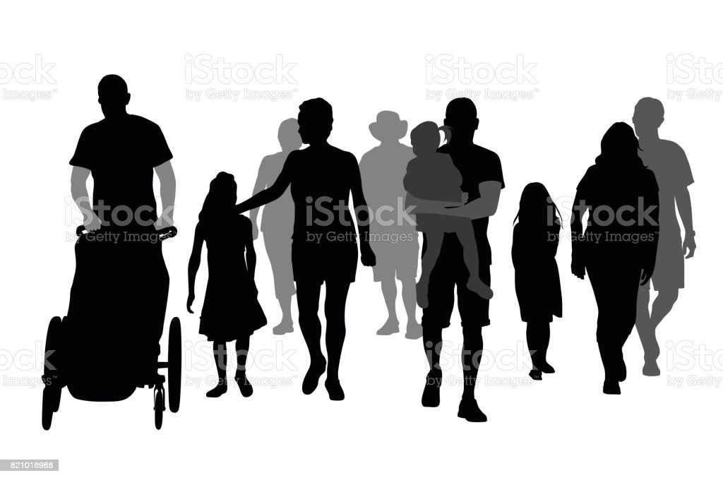 Families Walking vector art illustration