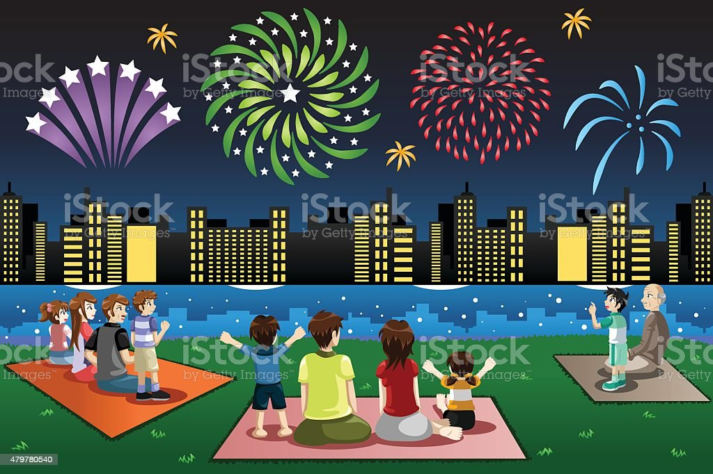 royalty free kids watching fireworks clip art  vector