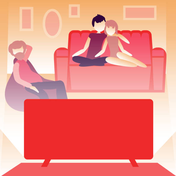 familiy or roommates watching the news at home. Room interior, glowing screen. Self isolation concept. Vector vector art illustration