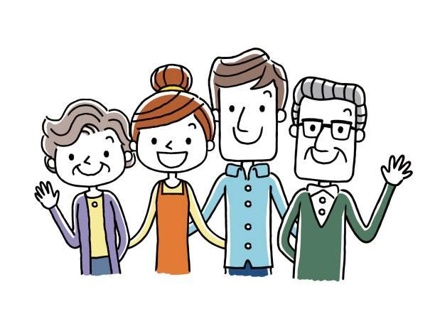 family: 2 generations - 介護 stock illustrations
