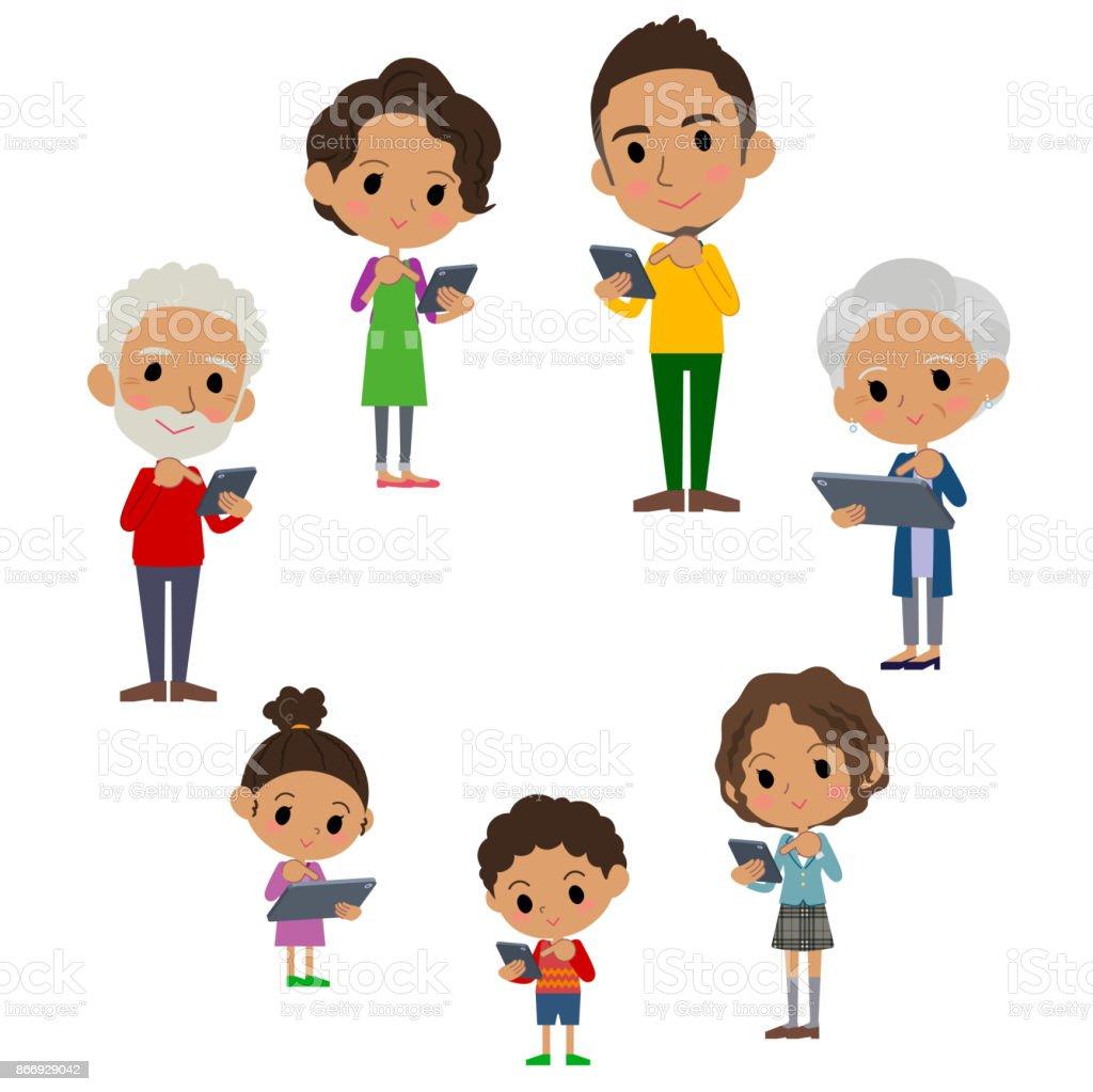 家族 3 世代インターネット通信 black_smartphone タブレット ラウンド ベクターアートイラスト