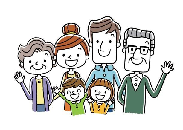family: 3 generations - 介護 stock illustrations
