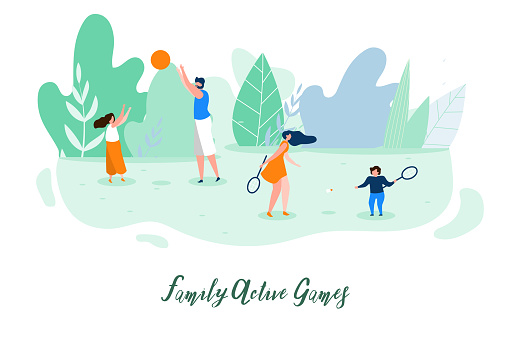 Family Active Outdoor Games Flat Vector Concept