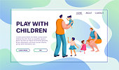 Family activities flat vector illustrations set. Children with parents and grandparents cartoon character. People spend time together. Group photo, snowman making, cycling, outdoor stroll and dinner