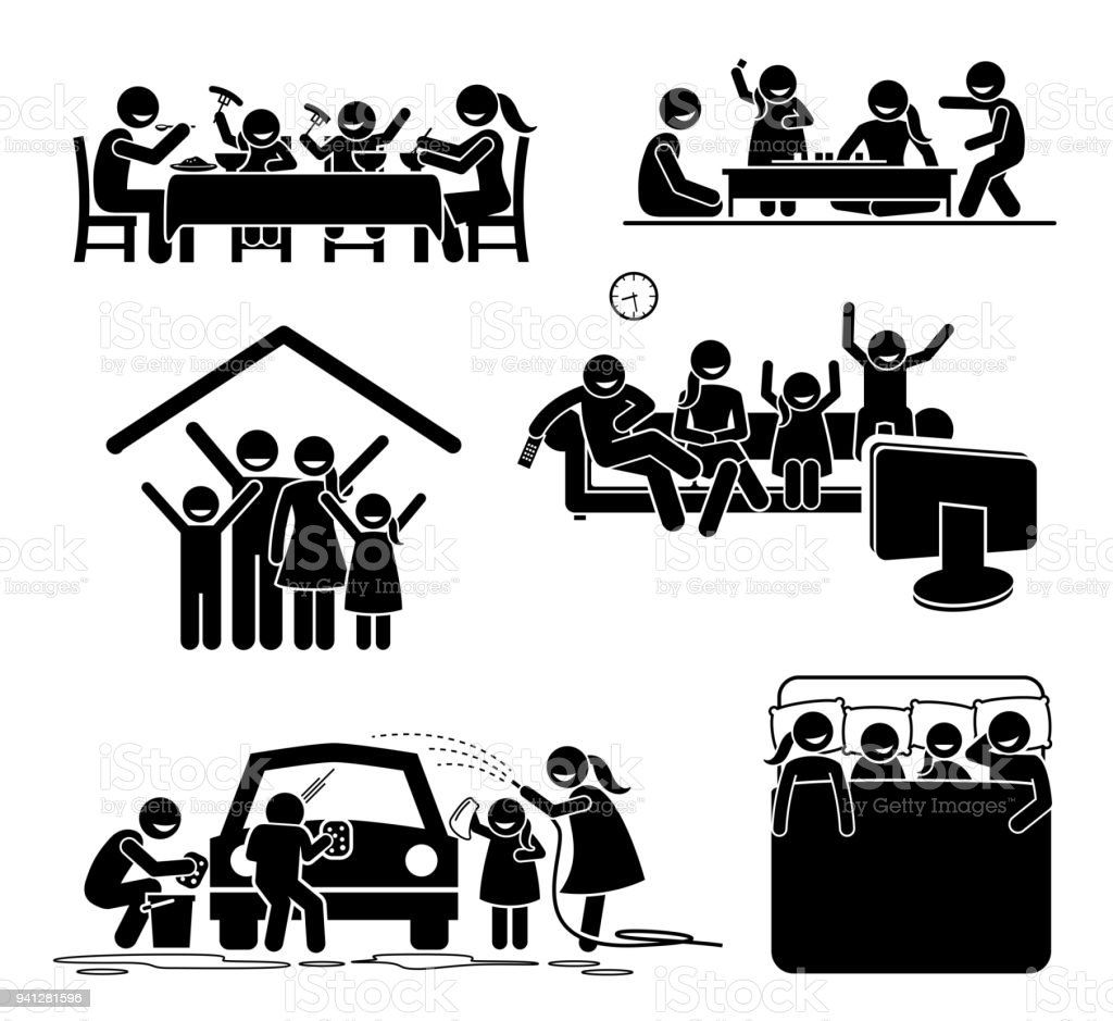 Family activities time at home. - Grafika wektorowa royalty-free (Czarny kolor)