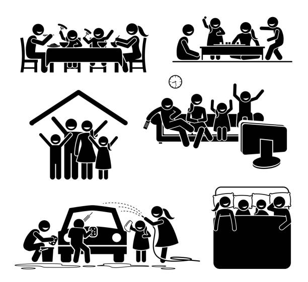 family activities time at home. - happy holidays stock illustrations