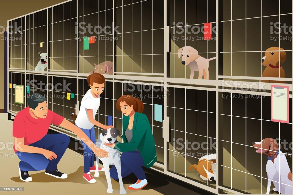 Famille, adopter un chien de refuge pour animaux - Illustration vectorielle