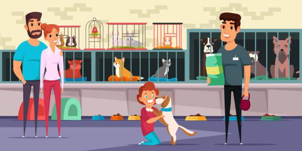 子犬フラットベクトルイラストを採用する家族 - ペットショップ点のイラスト素材/クリップアート素材/マンガ素材/アイコン素材