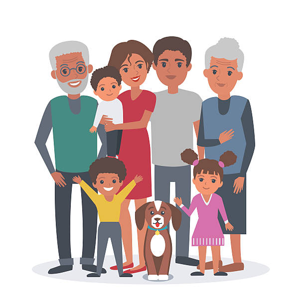family african american - old man smile silhouette stock illustrations