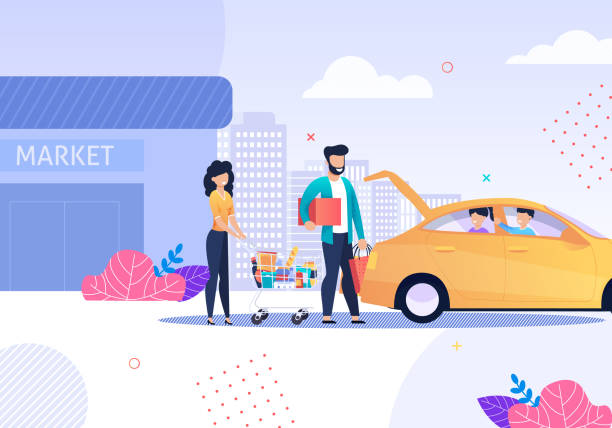 Familie nach Shopping und Taxi-Service Cartoon – Vektorgrafik