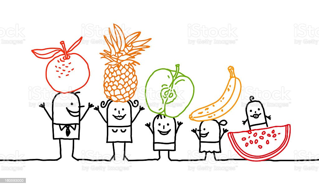 family & fruits vector art illustration