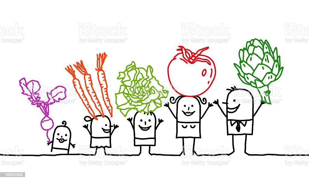 family & vegetables vector art illustration