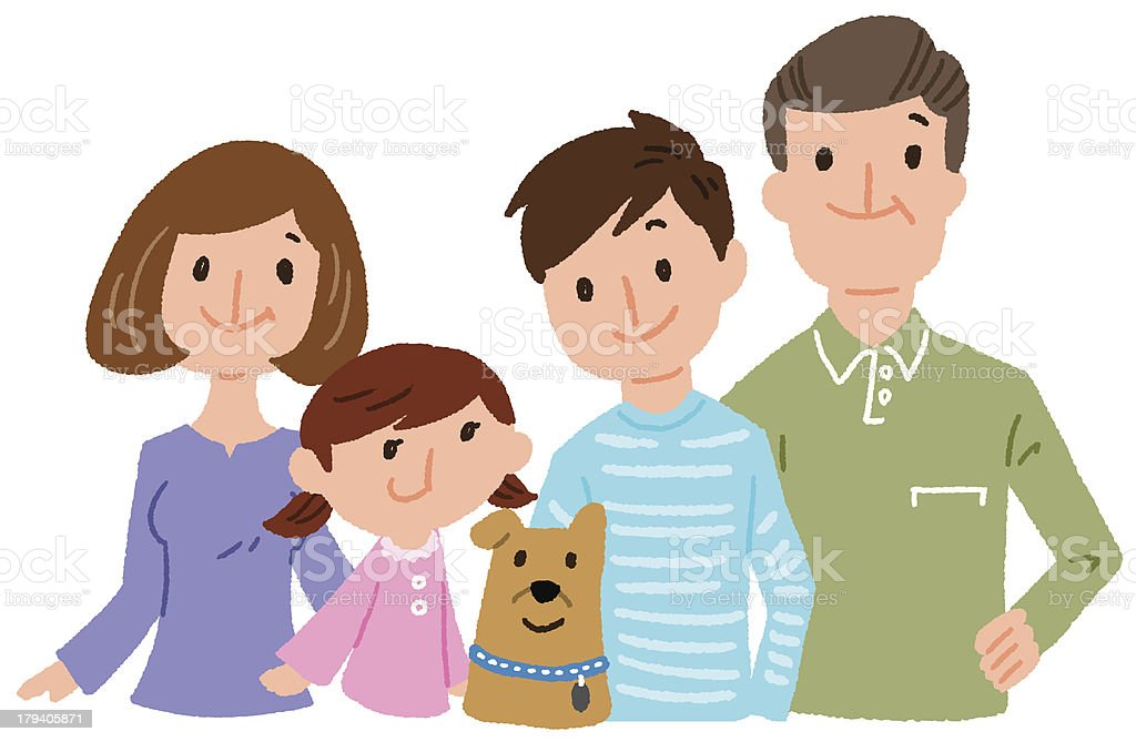 family and a pet vector art illustration