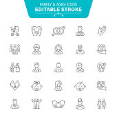 People Ages, Baby, Wedding, Family, Editable Stroke Icon Set