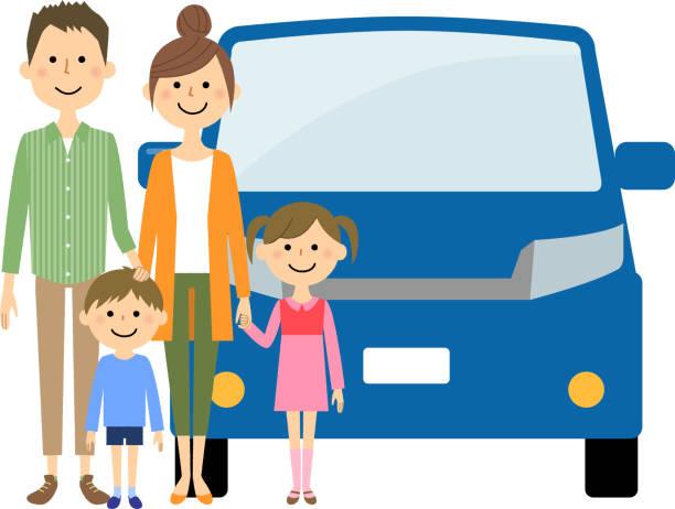 家族と車 - 母娘 笑顔 日本人点のイラスト素材/クリップアート素材/マンガ素材/アイコン素材