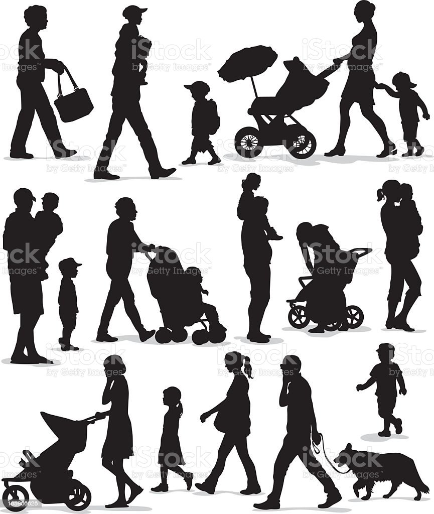 Family and Children Silhouette Set