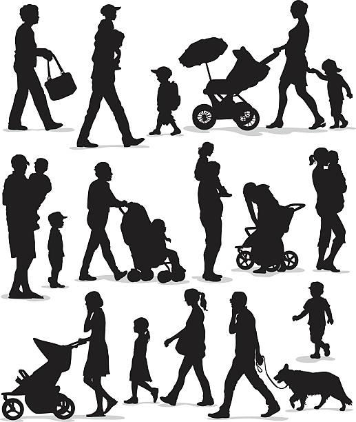 Family and Children Silhouette Set vector art illustration